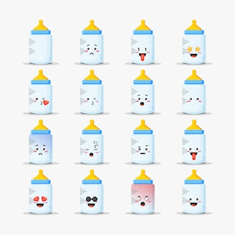 Cute baby bottle with emoticons set