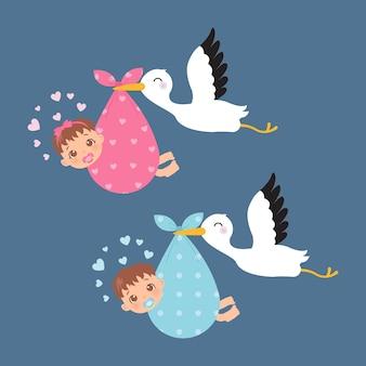 コウノトリが運ぶかわいい男の子と女の子。ベビーシャワーの装飾のクリップアート。