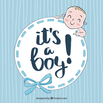 Cute baby boy background in hand drawn style