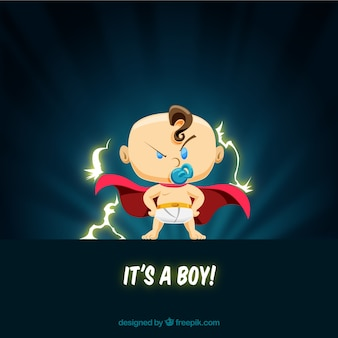 Cute baby boy background in flat style