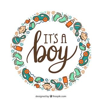 Симпатичный мальчик мальчик фон в руке обращается стиль