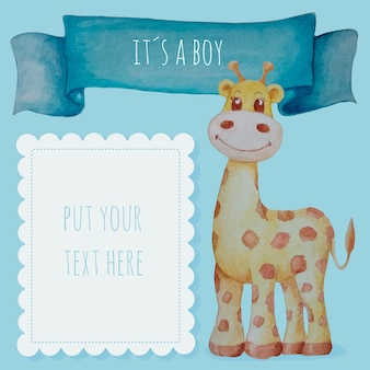 Cute baby boy background in watercolor with giraffe