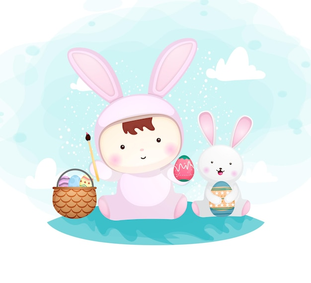 Cute baby boy in bunny costume with little bunny