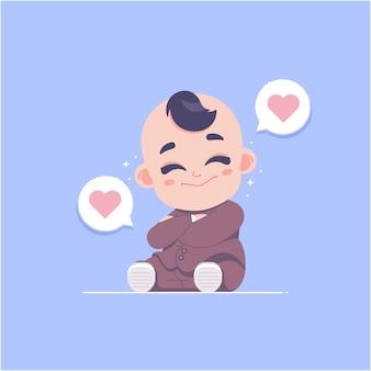귀여운 아기 소년 캐릭터 평면 디자인