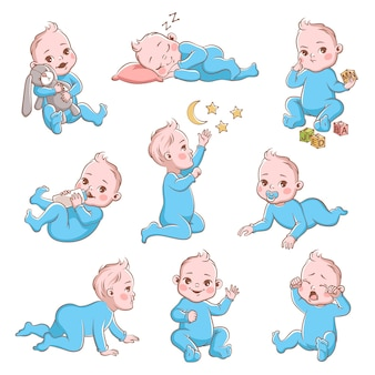 Cute baby boy in diaper with different poses and emotions happy and sad. child playing and crying, crawling cartoon vector toddler character