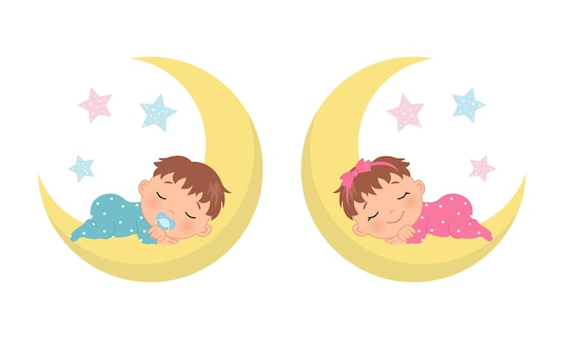 Cute baby boy and girl sleeping on crescent moon baby gender reveal illustration flat vector cartoon style Premium Vector