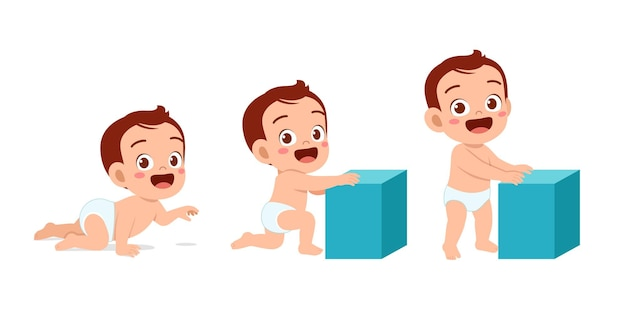 Cute baby boy in growth cycle progress set