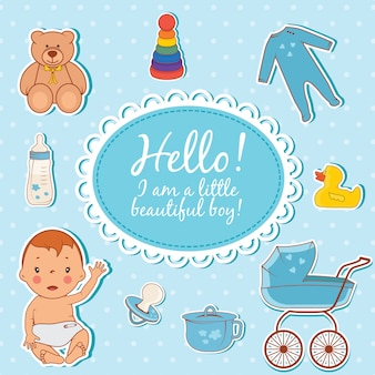 Cute baby boy hello card