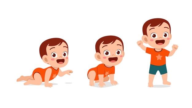 Милый мальчик в наборе прогресса цикла роста