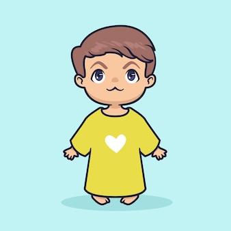 Cute baby boy kawaii illustration
