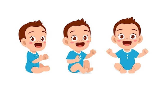 Cute baby boy sit down and smile pose set