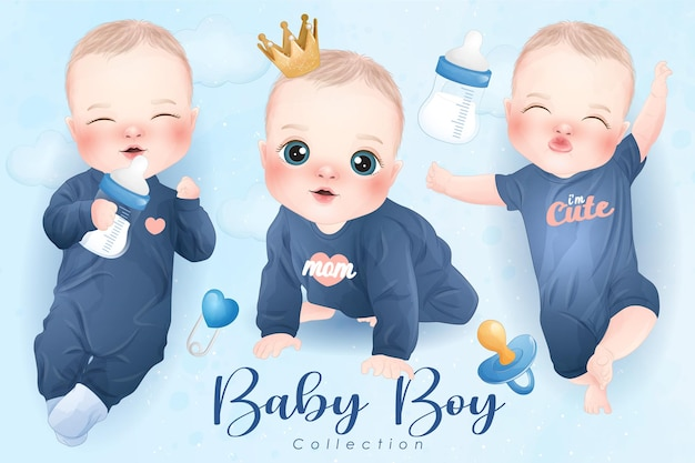 Cute baby boy in watercolor style collection