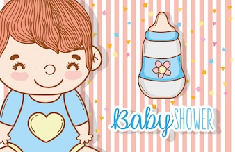Cute baby boy with feeding bottle