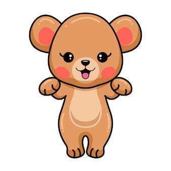 Милый ребенок бурый медведь мультфильм позирует