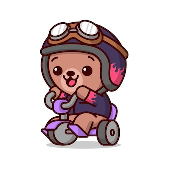 바이커 의상을 입은 귀여운 아기 갈색 곰은 보라색 세발 자전거를 타면 행복합니다.