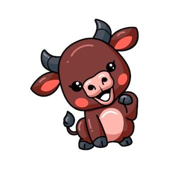 Cute baby buffalo cartoon posing