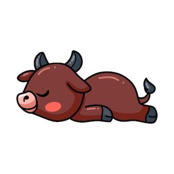 Cute baby buffalo cartoon sleeping
