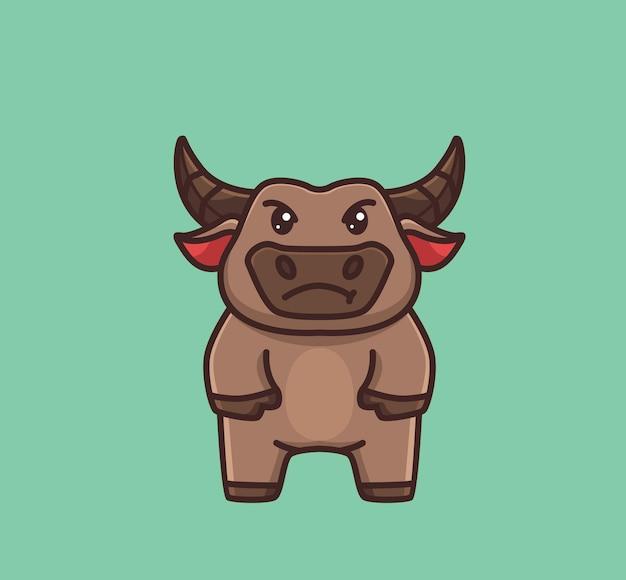 화가 난 귀여운 아기 버팔로. 만화 동물 자연 개념 격리 된 그림입니다. 스티커 아이콘 디자인 프리미엄 로고 벡터에 적합한 플랫 스타일. 마스코트 캐릭터