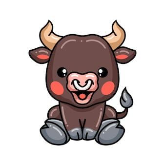 Cute baby bull cartoon posing