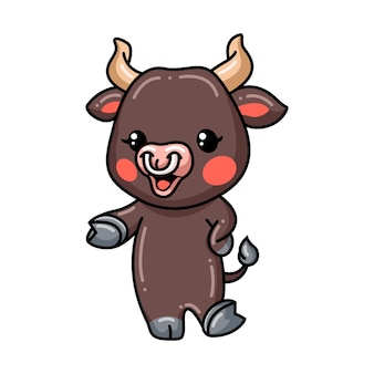 Cute baby bull cartoon presenting