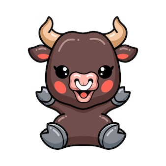 Cute baby bull cartoon sitting