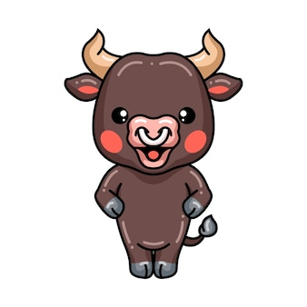 Cute baby bull cartoon standing