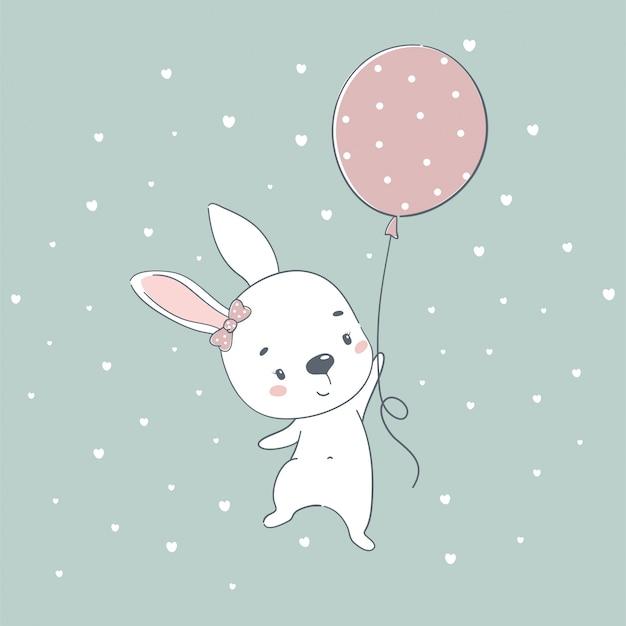 Милый ребенок кролик мультфильм иллюстрации. иллюстрация в стиле рисования рук