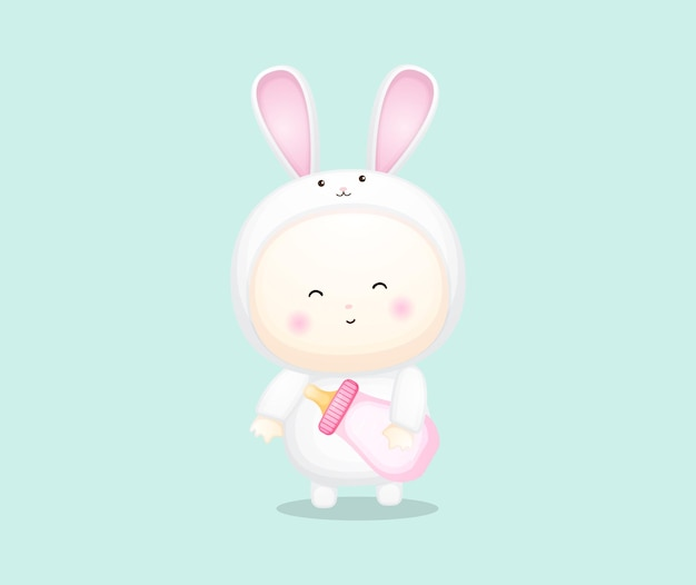 Cute baby in bunny costume holding pacifier. cartoon illustration premium vector