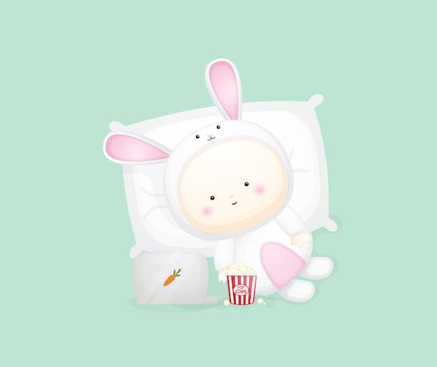 Cute baby in bunny costume lying and watching movie. cartoon illustration premium vector