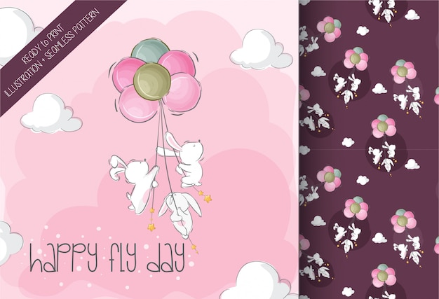 Cute baby bunny flying with air balloon cute animal seamless pattern