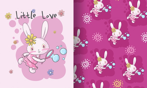 Cute baby bunny happy animal seamless pattern