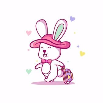 休暇のイラストでかわいい赤ちゃんウサギ