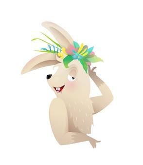 頭に花の冠でポーズをとるかわいい赤ちゃんウサギまたはウサギ。子供の動物のキャラクターのイラスト、水彩風の漫画。