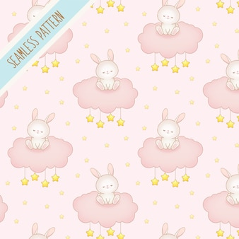 Cute baby bunny on a pink cloud seamless  pattern