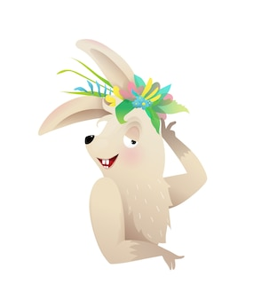 Cute baby bunny or rabbit posing with flowers crown on the head. kids animal character illustration, cartoon in watercolor style.