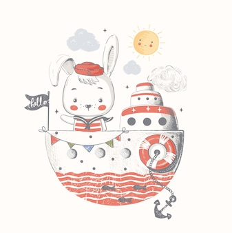 Cute baby bunny sailor on the shipcartoon hand drawn vector illustration can be used for baby