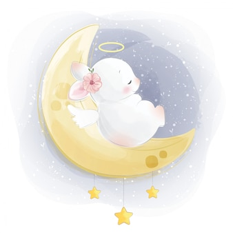 Cute baby bunny sleeping on moon