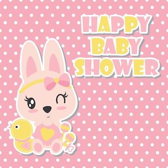 Симпатичный кролик ребенка с ее векторный рисунок мультфильма утка игрушка для дизайна майка майка, открытка и обои