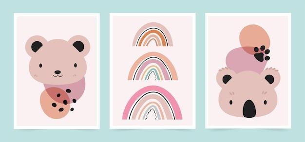 스칸디나비아 스타일의 귀여운 아기 카드. 곰, 코알라 그림의 집합입니다.