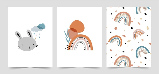Cute baby cards in scandinavian style set.