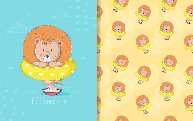 Cute baby cartoon lion card and seamless pattern for kids