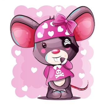 Cute baby cartoon mouse in pirate costume