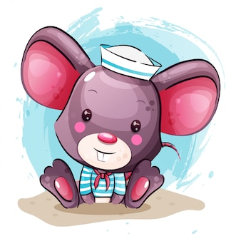Cute baby cartoon mouse in sailor costume