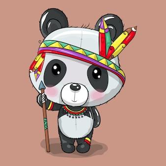 보헤미안 의상을 입은 귀여운 아기 만화 팬더