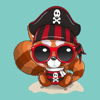 해적 의상을 입은 귀여운 아기 만화 팬더