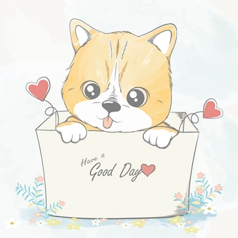 Cute baby cat in a box water color cartoon hand drawn  illustration