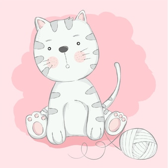 Cute baby cat cartoon hand drawn style