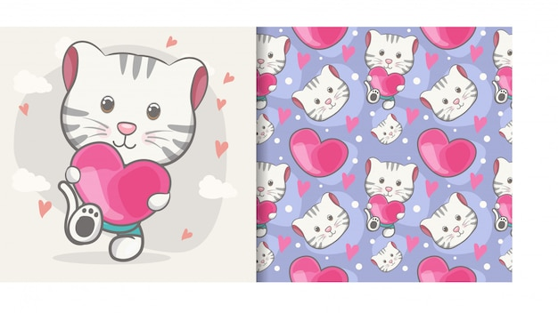 Cute baby cat cartoon with seamless pattern