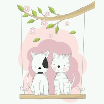 Cute baby cat and dog playing swing cartoon hand drawn style