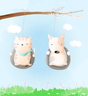 Cute baby cat and dog watercolor style